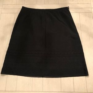 Ann Taylor Classic black skirt with embroidery bot
